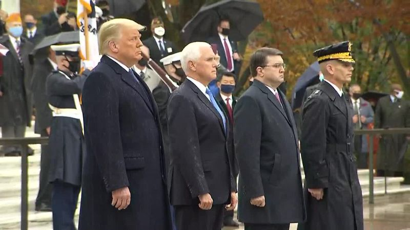President Donald Trump honored Veterans Day in a ceremony at Arlington National Cemetery.