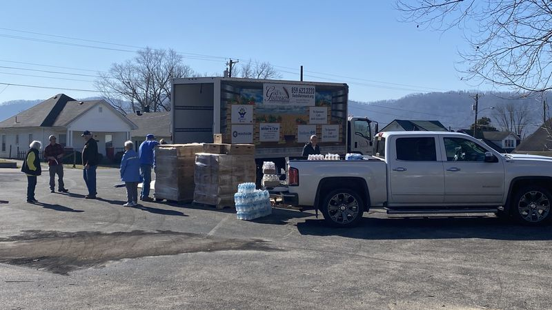 God's Outreach has set up in a parking lot on Broadway Street in Estill County, so people...