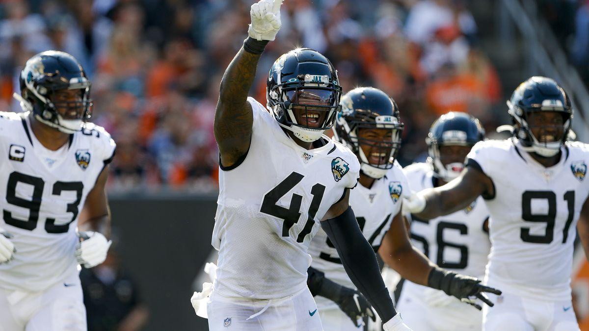 Jacksonville Jaguars defensive end Josh Allen (41) celebrates after sacking Cincinnati Bengals quarterback Andy Dalton in the second half of an NFL football game, Sunday, Oct. 20, 2019, in Cincinnati. (AP Photo/Gary Landers)