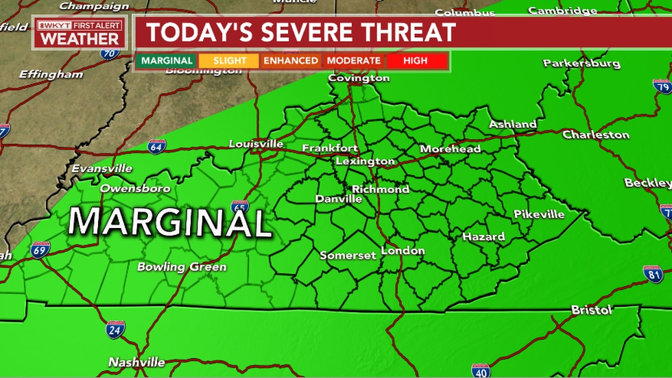 Strong to severe storms are expected this afternoon and evening. Our main threats include strong/damaging winds, hail, and a localized flash flood threat.