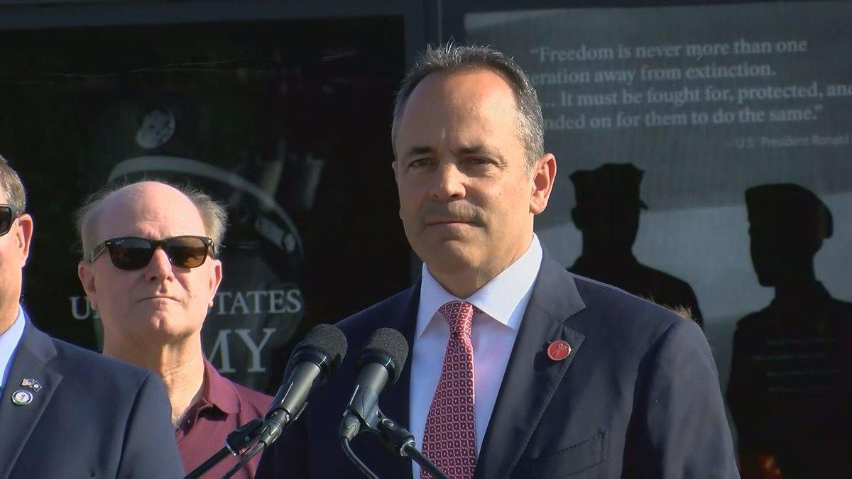 Gov. Matt Bevin proposes a veteran tax benefit plan in a campaign stop. (WAVE)