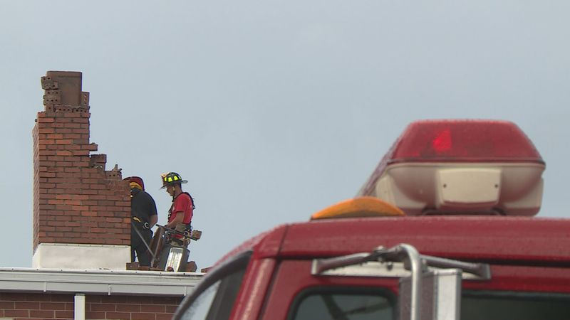 The Wilmore Fire Department continued assessing the damage as students were allowed back inside.