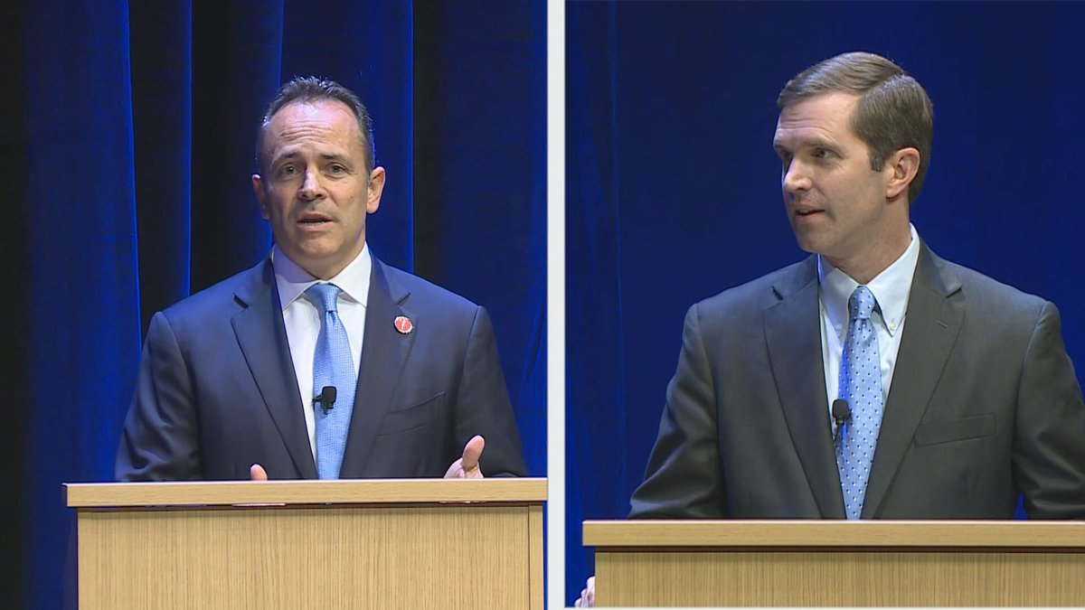 Matt Bevin and Andy Beshear took part in a contentious debate in Lexington on Tuesday. (Gray...