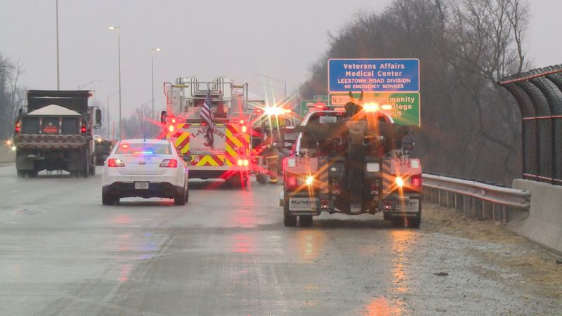 Emergency crews in Lexington responded to several crashes due to the slick roads Wednesday...