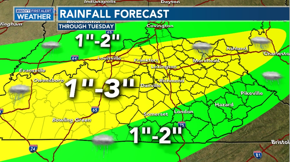 Heavy showers begin Sunday, but ramp up more on Monday bringing several inches of rain across...