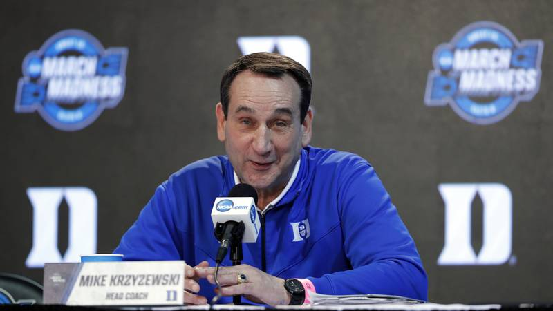 FileThis March 22, 2018, file photo shows Duke head coach Mike Krzyzewski speaking during a...