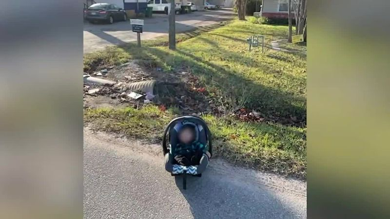 A baby was dropped off by an apparent carjacker on the side of the road in Houston.