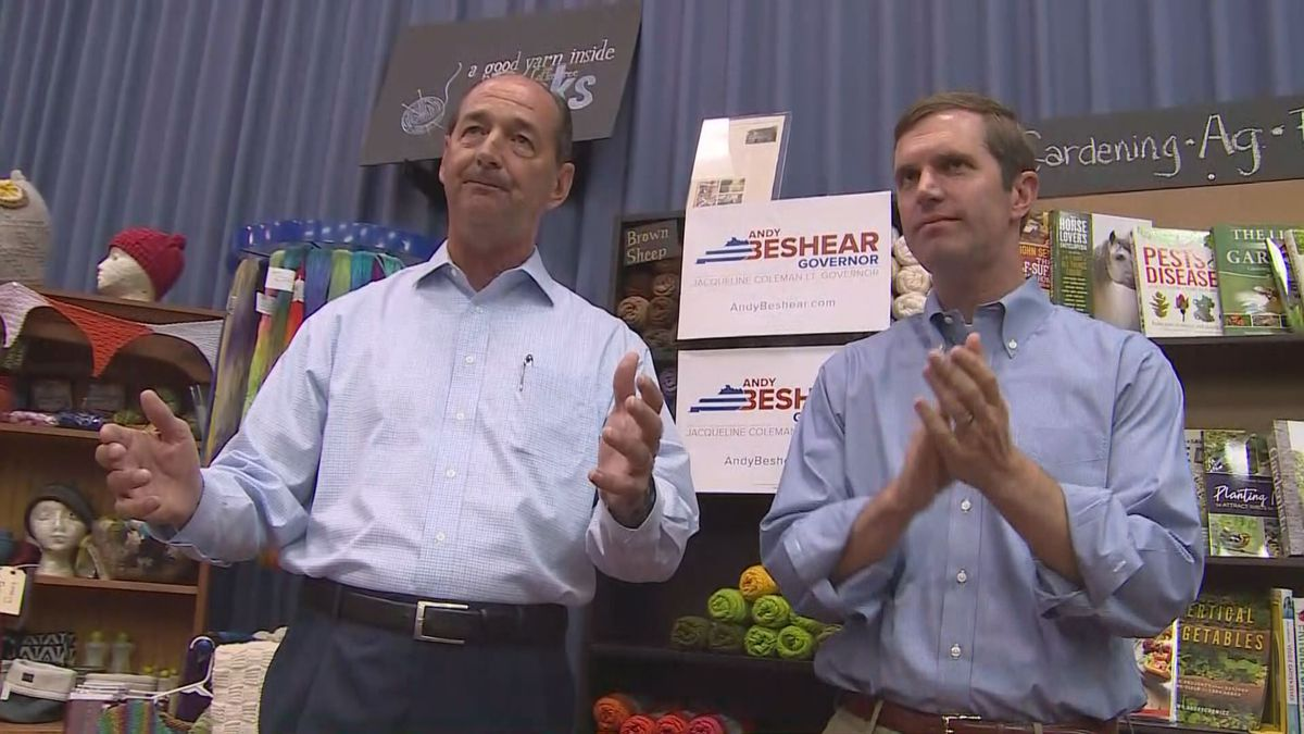 Andy Beshear and Rocky Adkins campaign in Morehead (Photo: WKYT)