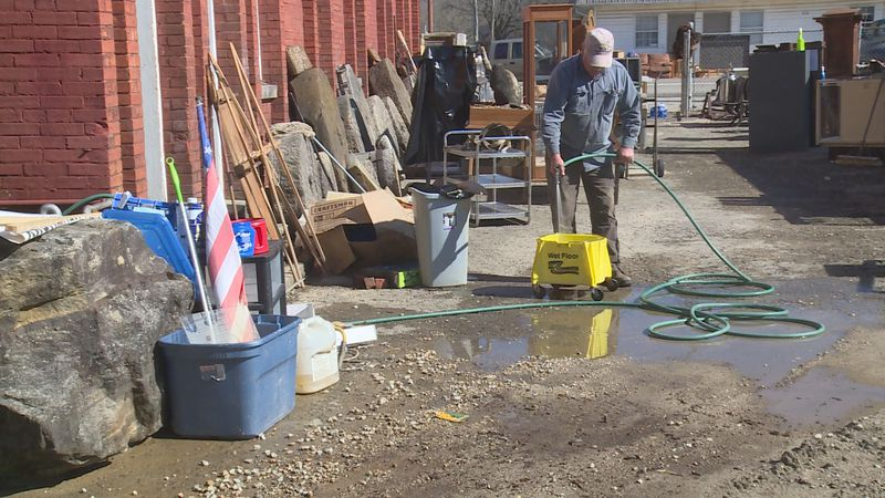 On Main Street in Clay City, it's all hands on deck for clean-up efforts.