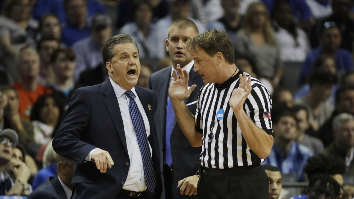 FILE - In this March 26, 2017, file photo, Kentucky head coach John Calipari argues a call with...