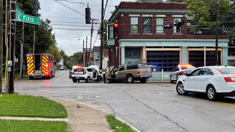 Police say the suspect was involved in a crash at the intersection of E. Fifth and N. MLK.