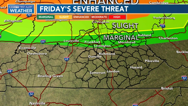 Strong to severe storms are possible late Friday and into early Saturday as a front moves in...