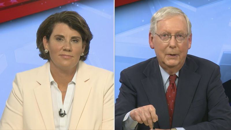 Marine Veteran Amy McGrath and Senate Majority Leader Mitch McConnell face off in televised...