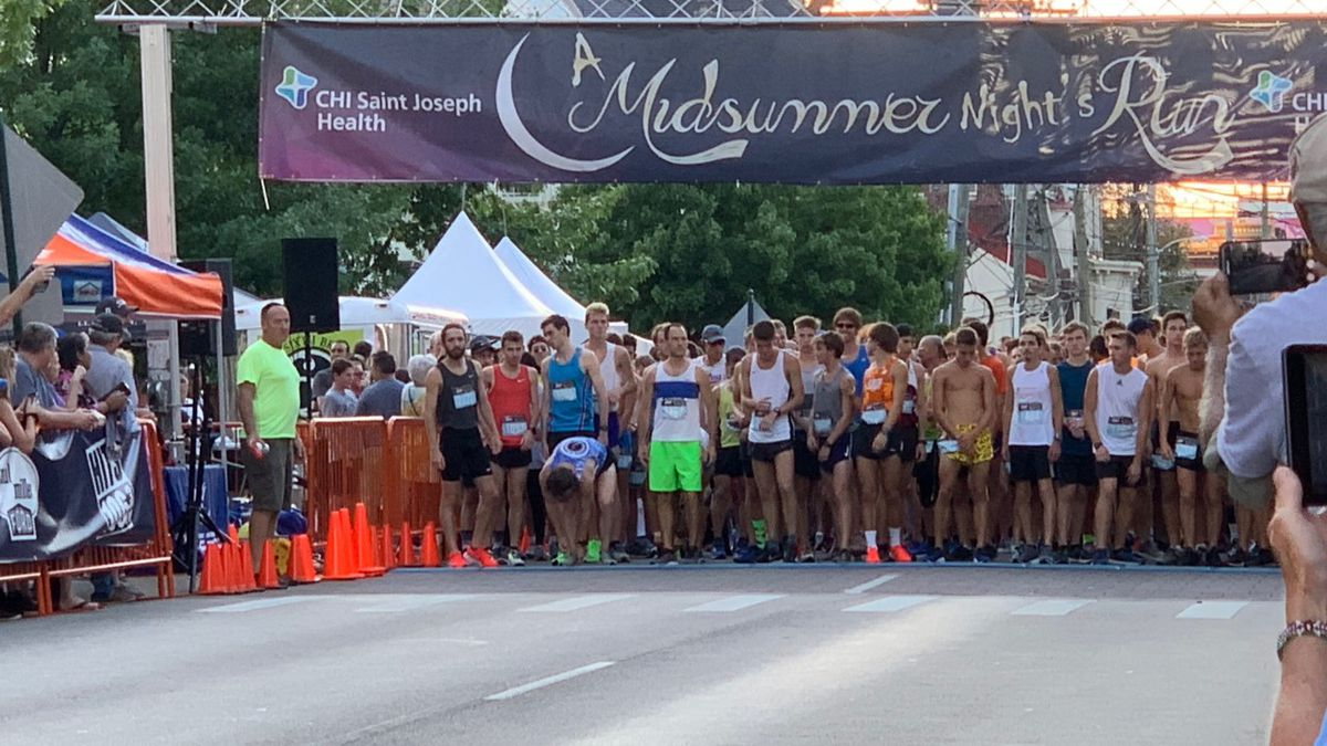 Runners take their mark before the start of the 35th annual 5K in downtown Lexington.