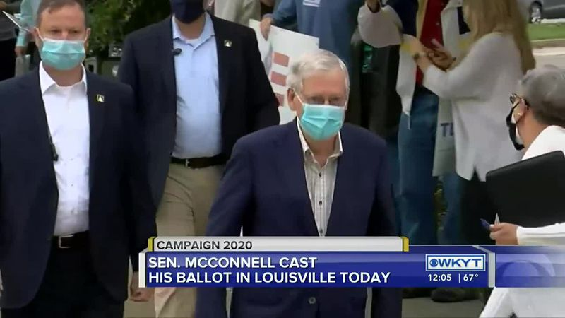 Sen. McConnell votes early in Louisville, speaks about GOP coronavirus relief proposal