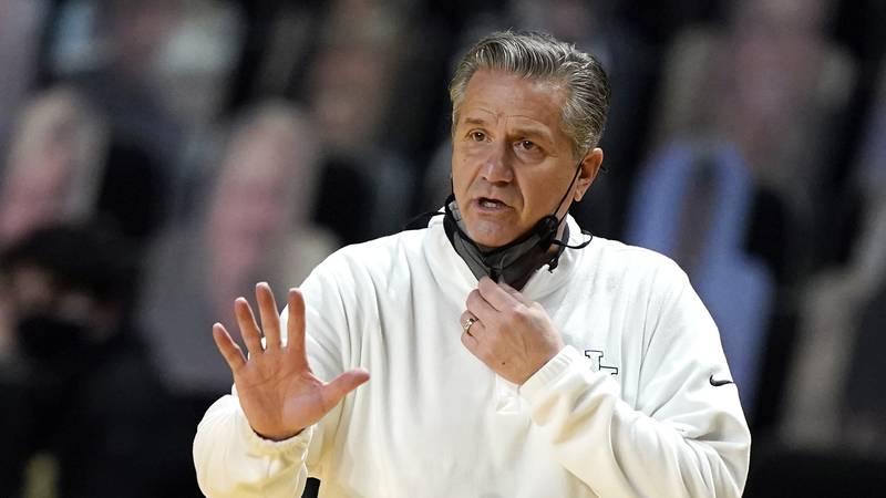 FILE - In this Feb. 17, 2021, file photo, Kentucky head coach John Calipari gestures during the...