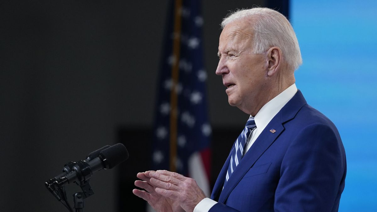 President Joe Biden speaks during an event on COVID-19 vaccinations and the response to the...