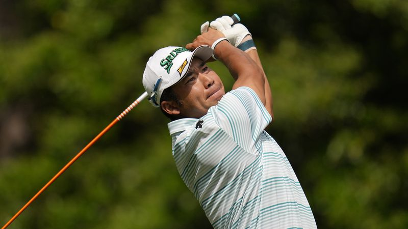 Hideki Matsuyama, of Japan, during the third round of the Masters golf tournament on Saturday,...