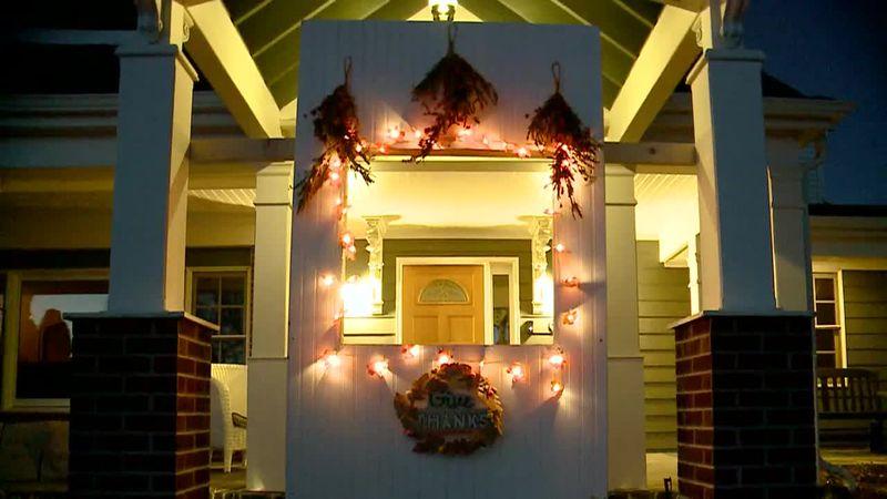 "A family built a Thanksgiving ""drive-thru"" window outside their home."