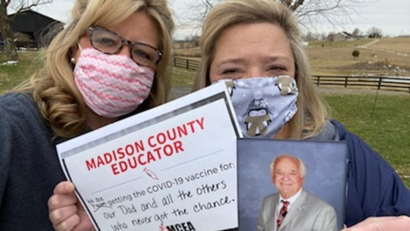 Two Madison County teachers and sisters, Becky Miller and Kristy Little, received the COVID-19...