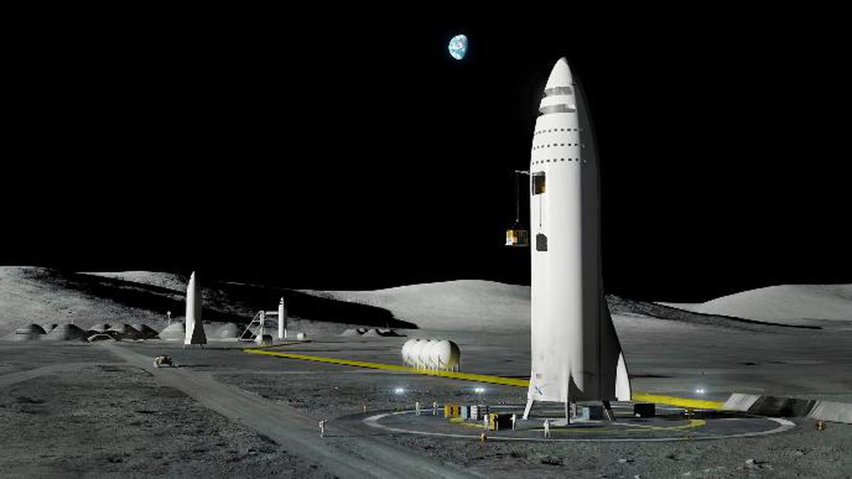 FILE - This artist's rendering made available by Elon Musk on Friday, Sept. 29, 2017 shows SpaceX's mega-rocket design on the Earth's moon. Amazon's Jeff Bezos and Virgin Galactic's Richard Branson favor going back to the moon before Mars. Musk also is rooting for the moon, although his heart's on Mars. (SpaceX via AP, File)