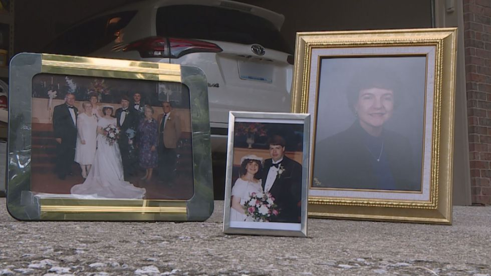 A collection of photos of the Dotsons, outside of the couple's home.
