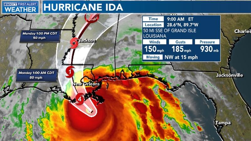 Hurricane Ida as of 9:00 AM EST on August 29, 2021