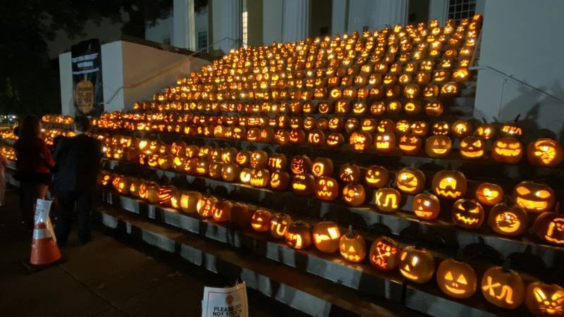 The steps of Old Morrison Hall are now covered with jack-o-lanterns, and they'll be lit up...