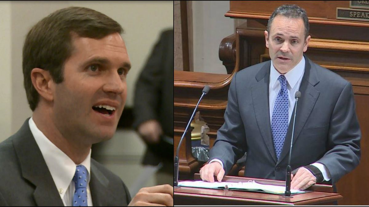 Attorney General Andy Beshear (left) and Gov. Matt Bevin (right)