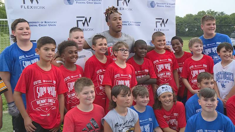 Benny Snell and his campers at Toyota Stadium in Georgetown.