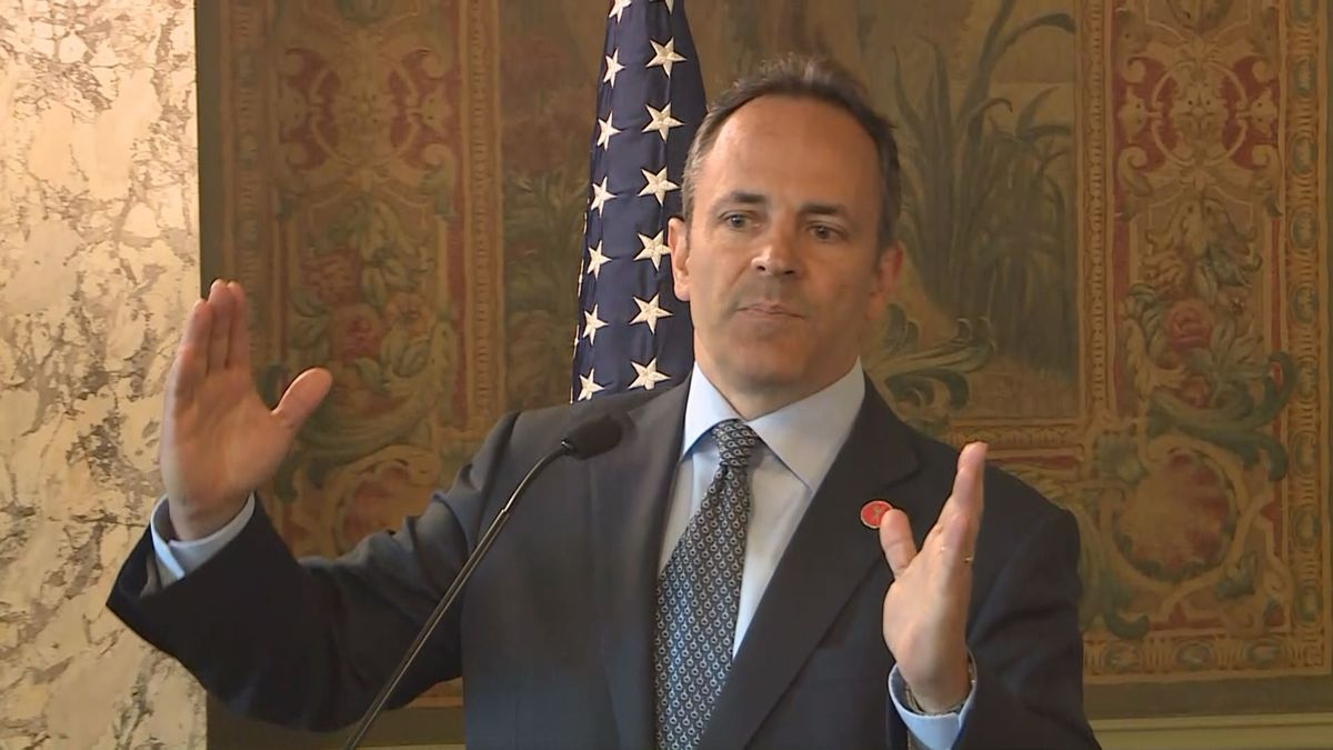 Gov. Matt Bevin explaining his decision to veto the state budget and tax plans.