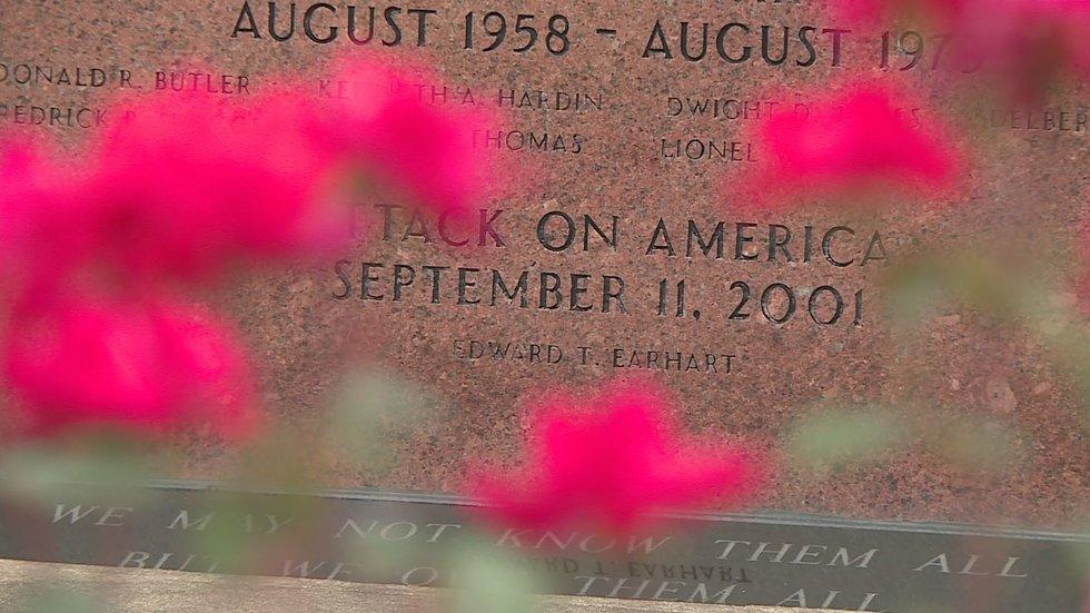 Ed Earhart's name on the veterans memorial in downtown Morehead.