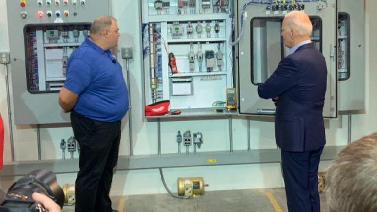 President Biden tours a union-backed electricians training facility on Cincinnati's West Side.