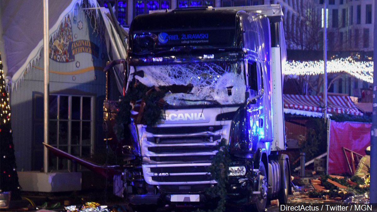 A damaged truck in Berlin, Germany,Tuesday Dec. 20, 2016. The truck ran into a crowded...