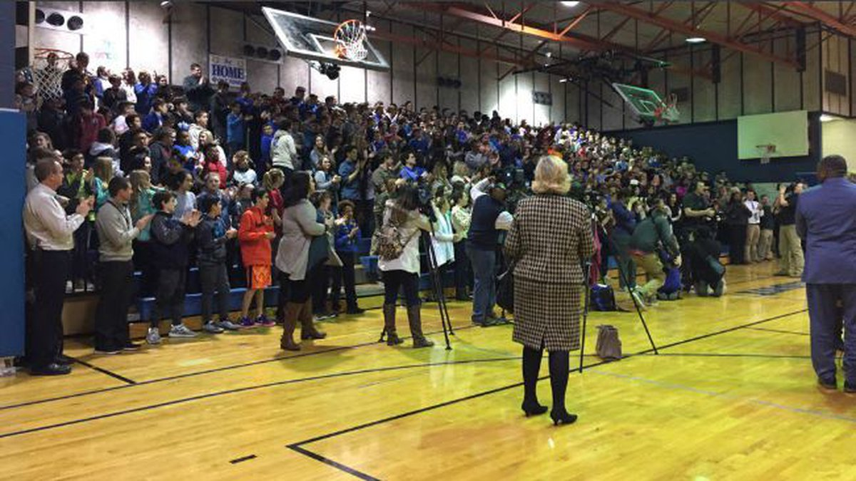 Brooke Powers received the Milken Educator Award during an assembly at Beaumont Middle School...