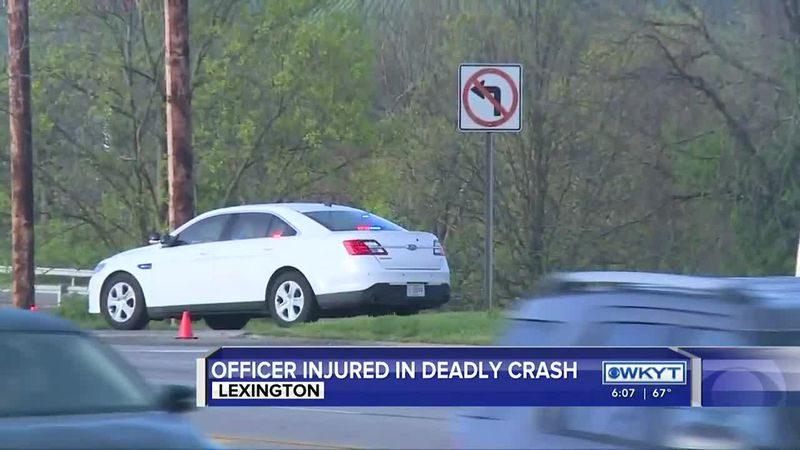 A woman is dead and a Lexington police officer is seriously hurt after a crash on New Circle...