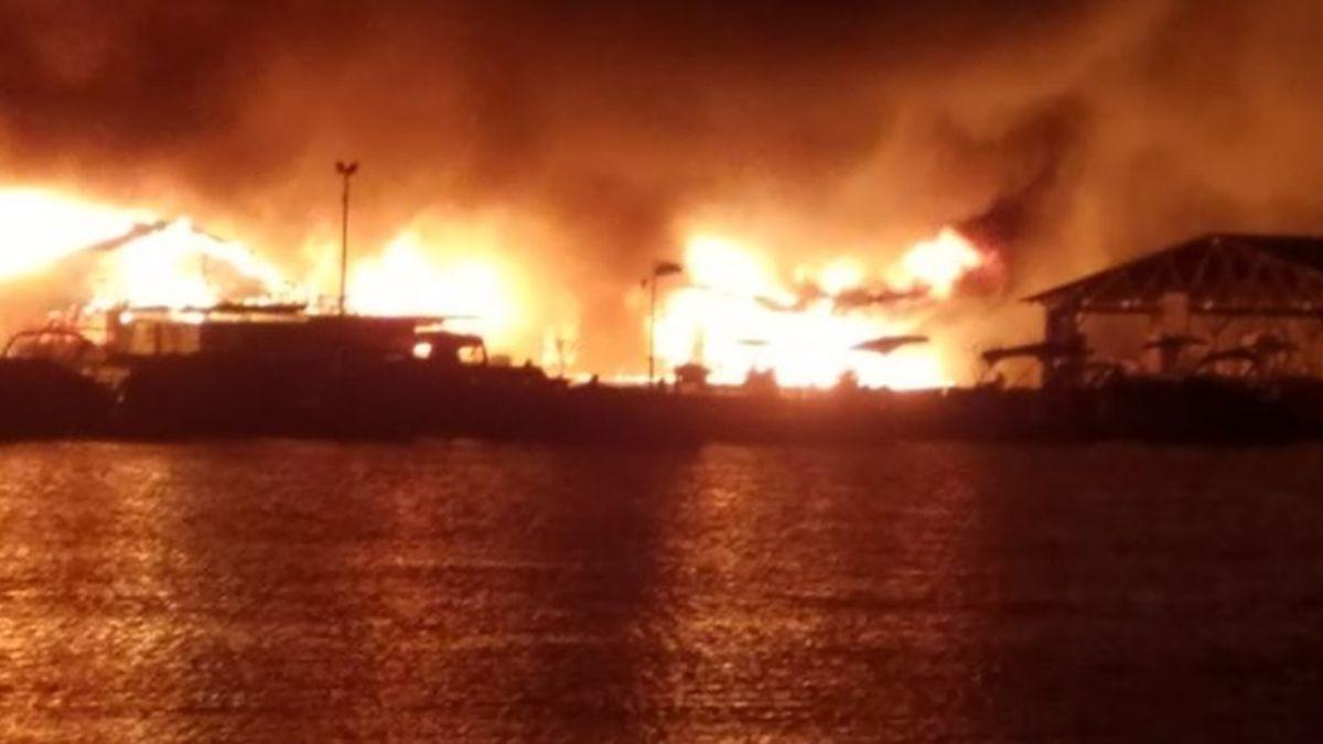 A large fire damaged the Conley Bottom boat dock on Lake Cumberland. Photo courtesy of Tina New.