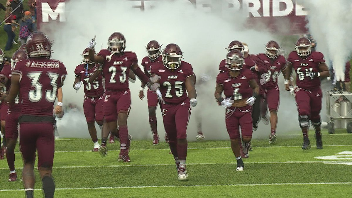 EKU takes the field before their victory over Austin Peay in Richmond.