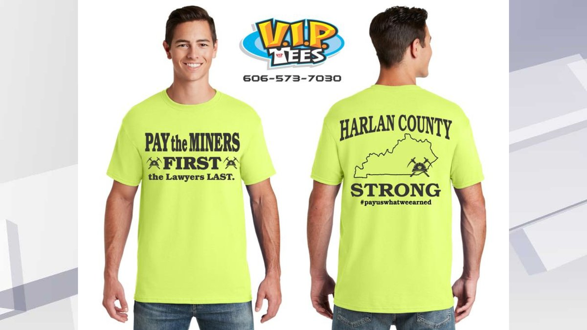 """Participating miners will receive a caravan t-shirt that reads """"Pay the miners first,..."""