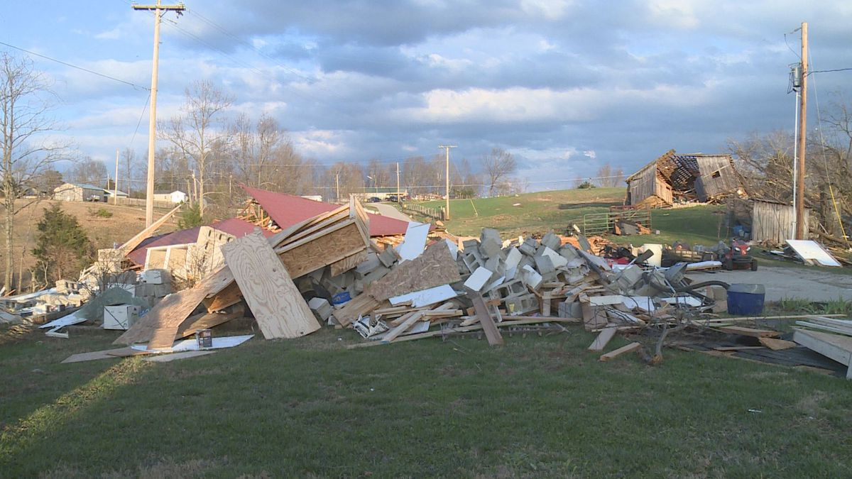 Damage along Drowning Creek Ridge in Estill County.