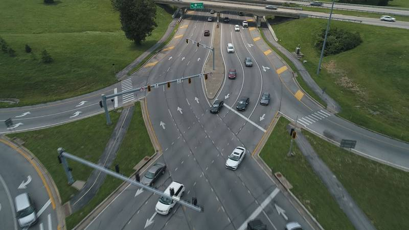An aerial view of the double crossover diamond (DCD) interchange on Harrodsburg Road at New...