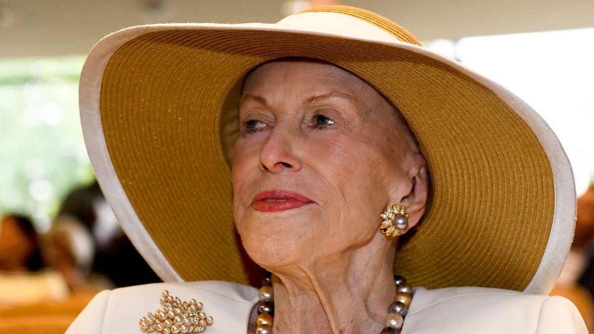 Marylou Whitney is seen at the National Museum of Racing and Hall of Fame, before accepting a...