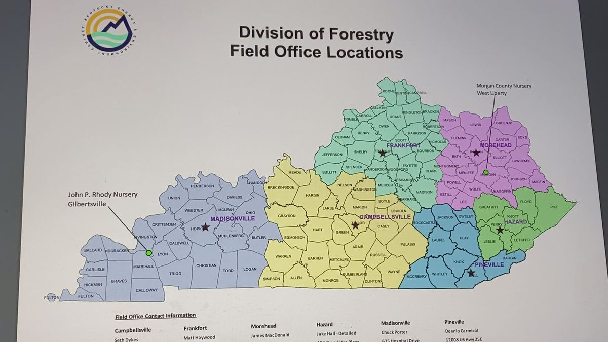 Here's a map of the Kentucky Division of Forestry offices