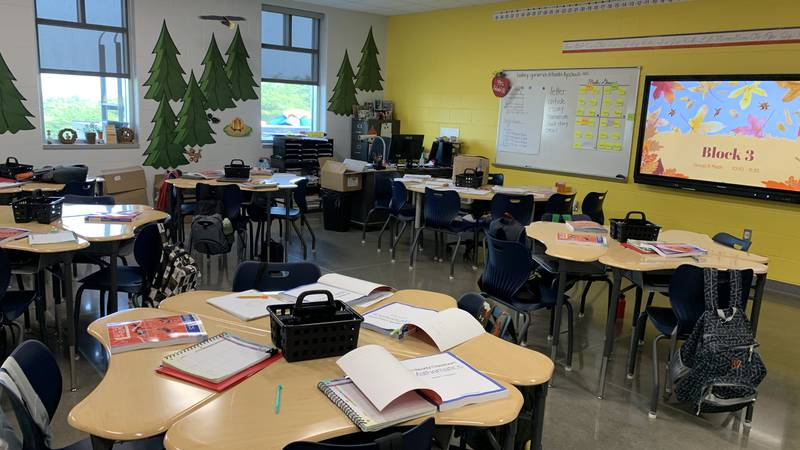 A Hardin County classroom is set up to facilitate contact tracing in the event a student gets...