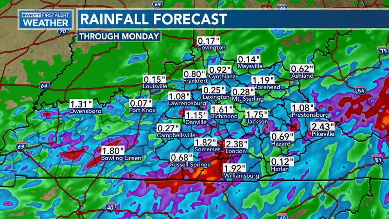 Heavy rain could lead to localized high water issues on Monday
