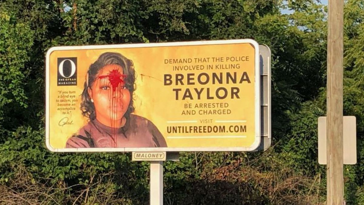 A billboard depicting a central figure in America's racial reckoning has been vandalized in Louisville.