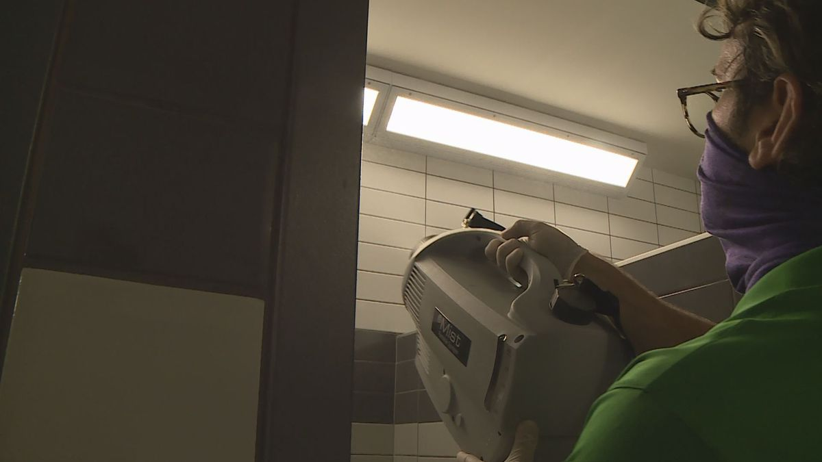 Cleaners at Great Crossing High School in Scott County are preparing to welcome students back...