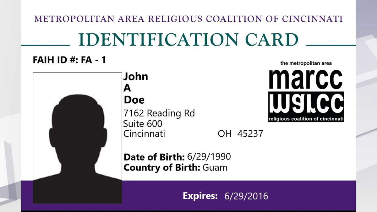 A sample MARCC ID card, as issued by the Metropolitan Area Religious Coalition of Cincinnati. (Photo: MARCC)