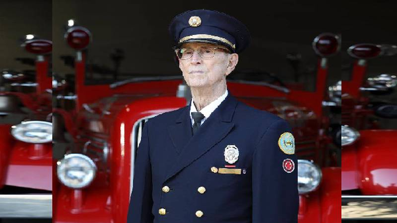 Orville Cook, 91, is the oldest living member of the Lexington Fire Dept.