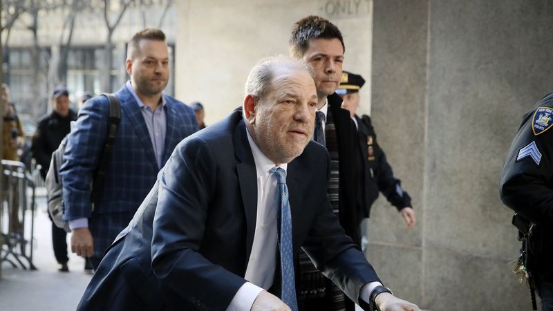 In this Feb. 24, 2020, file photo, Harvey Weinstein arrives at a Manhattan courthouse as jury...